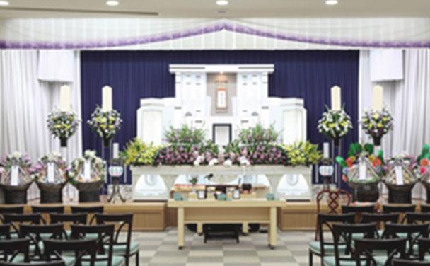 お葬式、式場祭壇の写真