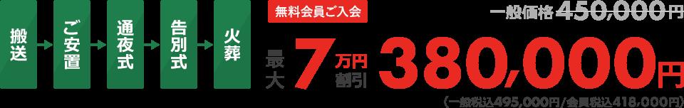 無料会員ご入会最大7万円割引380,000円